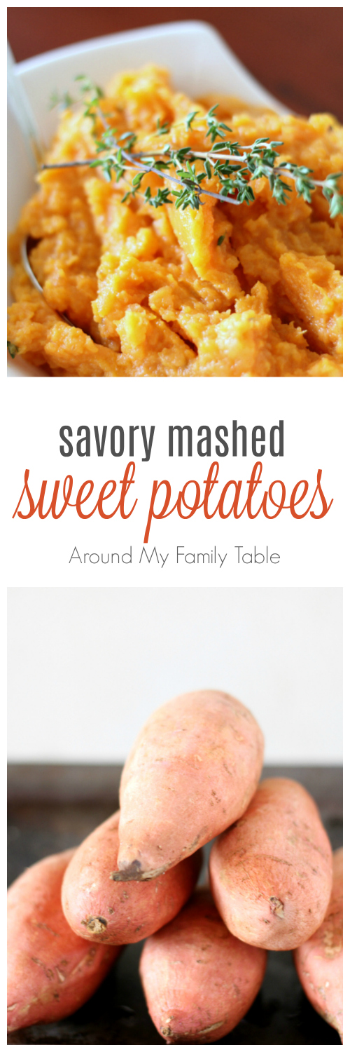 Move over cinnamon and sugar, hello thyme and butter! These Savory Mashed Sweet Potatoes are easy, creamy, and scrumptious.
