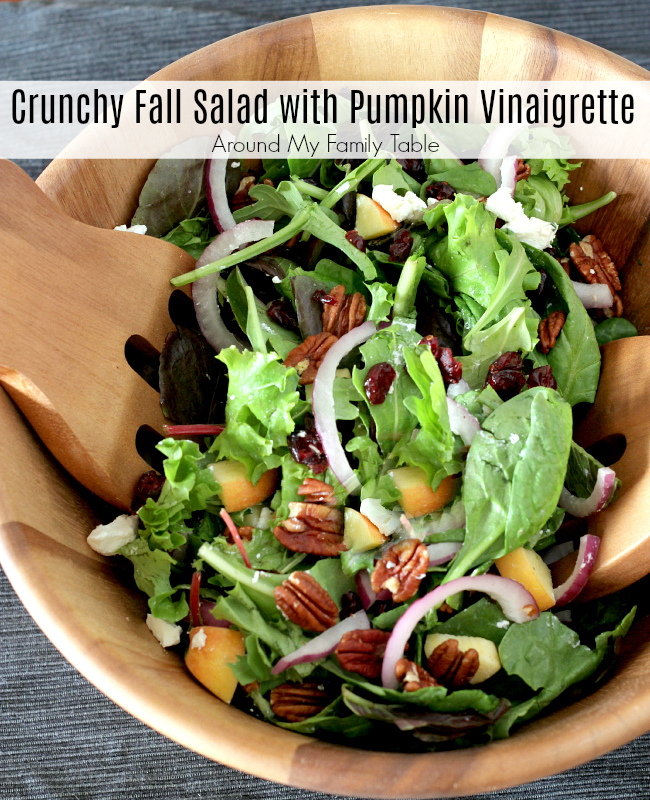 This Crunchy Fall Salad is a refreshing fall salad for the holidays that's been tossed in an unbelieveale Pumpkin Vinaigrette.