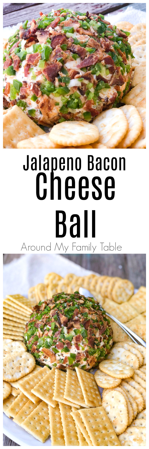 This Jalapeño Bacon Cheese Ball is creamy and a little spicy and the perfect addition to any party, potluck, or holiday meal. Loads of cheddar cheese, bacon, jalapeños and a little green onion make it absolutely delicious.