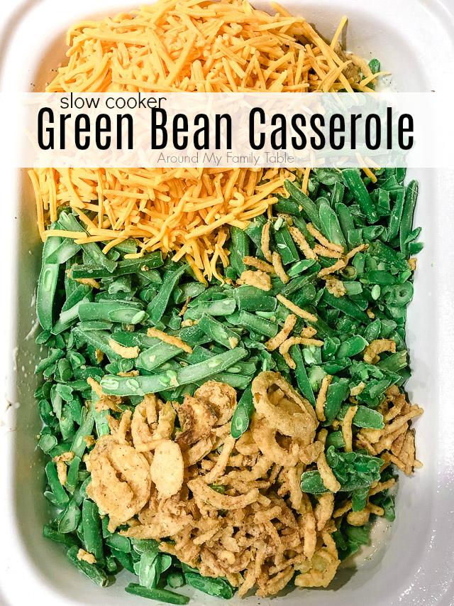 green bean casserole ingredients in a slow cooker