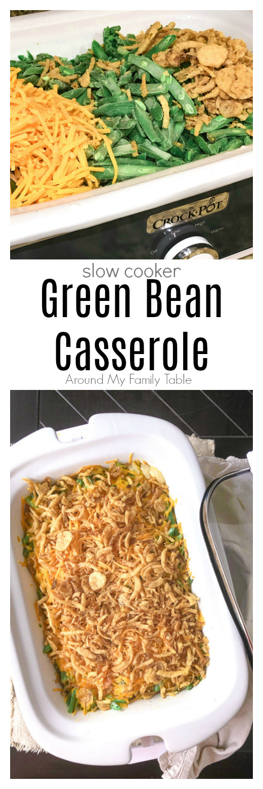 Free up some oven space during the holidays with this delicious Slow Cooker Green Bean Casserole with cheese.
