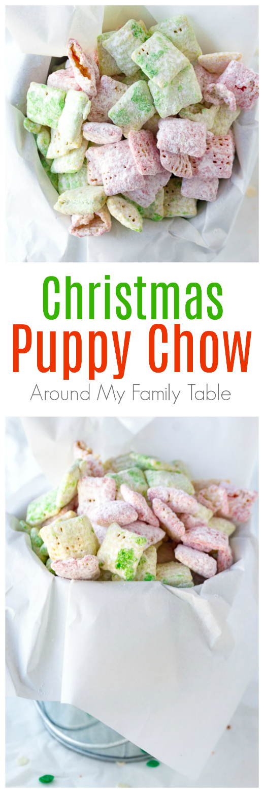Christmas puppy chow is a sweet snack made with Chex cereal, white chocolate, and white-as-snow powdered sugar. For a festive touch, a few drops of red and green food coloring are added. As a result, you have the perfect holiday party treat! #christmasrecipes #muddybuddies #puppychow #christmas