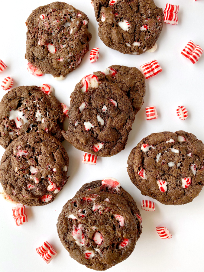 Double Chocolate Peppermint Cookies on white