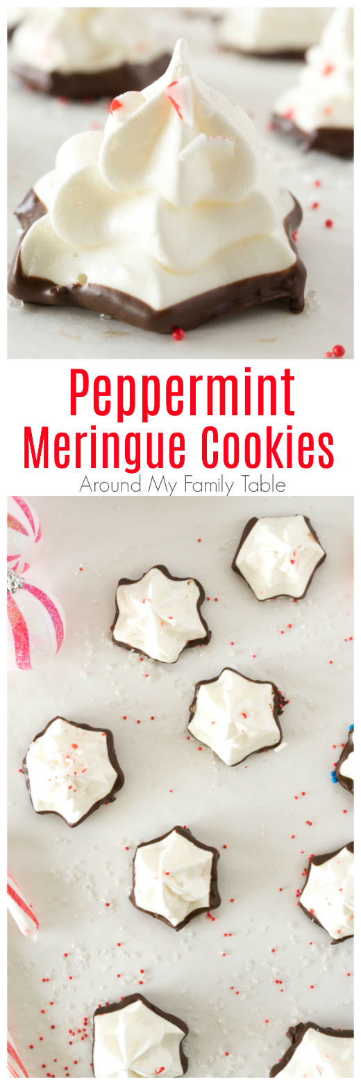 Titled photo collage: Peppermint Meringue Cookies