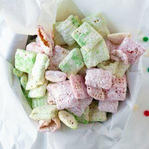 festive red and green Christmas puppy chow snack