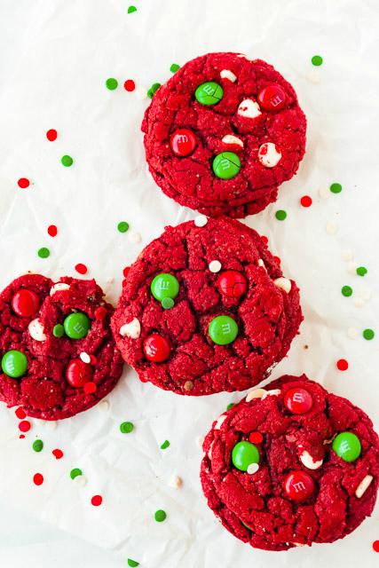 overhead image of red velvet Christmas cookies