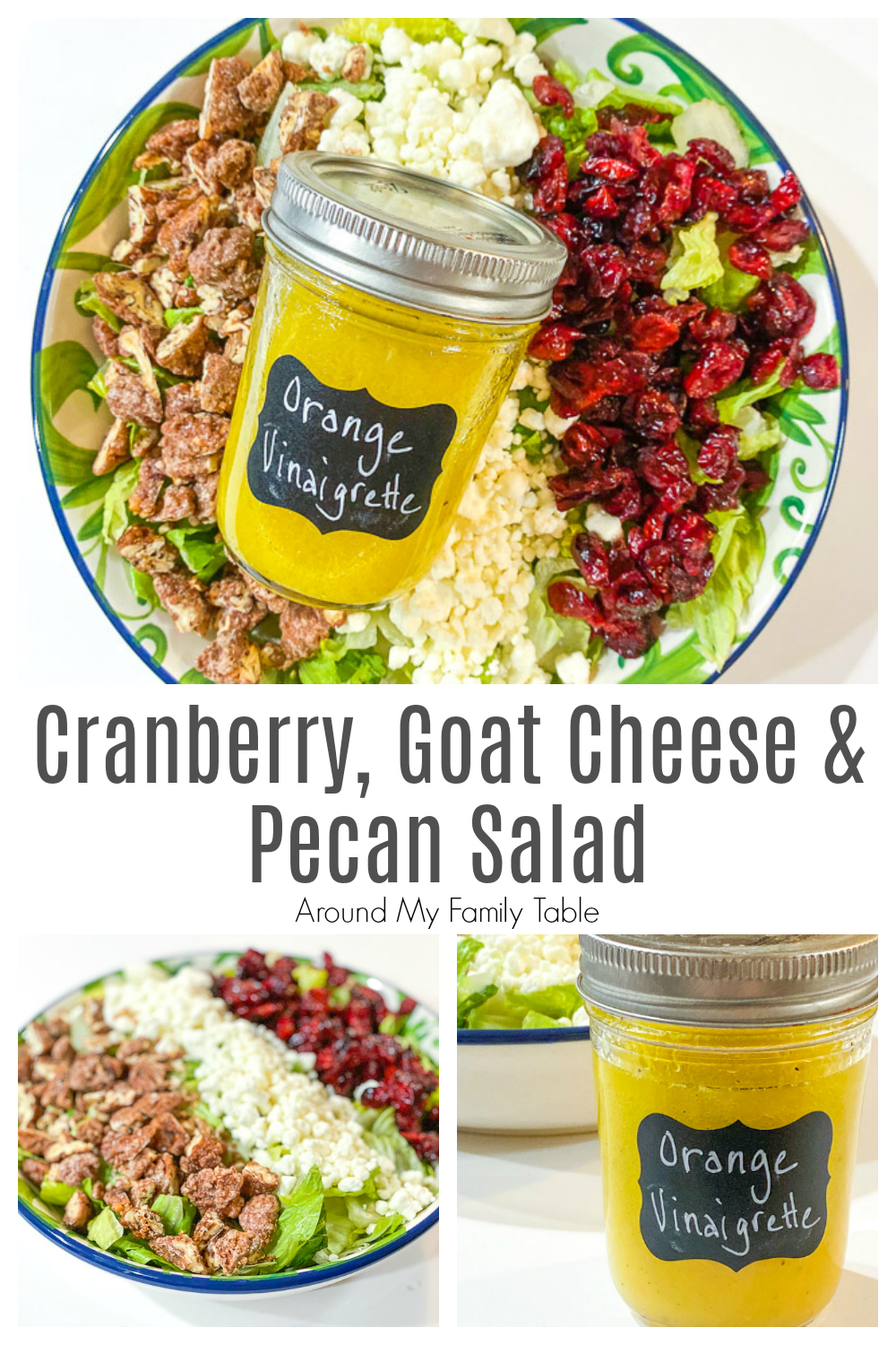 Serve this easy Cranberry, Goat Cheese, & Pecan Salad with Orange Vinaigrette with supper tonight. There are so many delicious add ins to this salad that everyone loves it!