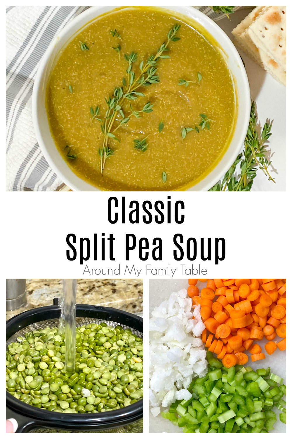 Delicious and simple Classic Split Pea Soup made with dried peas and a leftover ham bone screams comfort food. It's perfect for a cold winter day!
