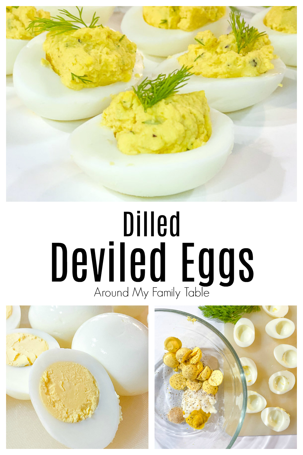 dilled deviled eggs collage with ingredients