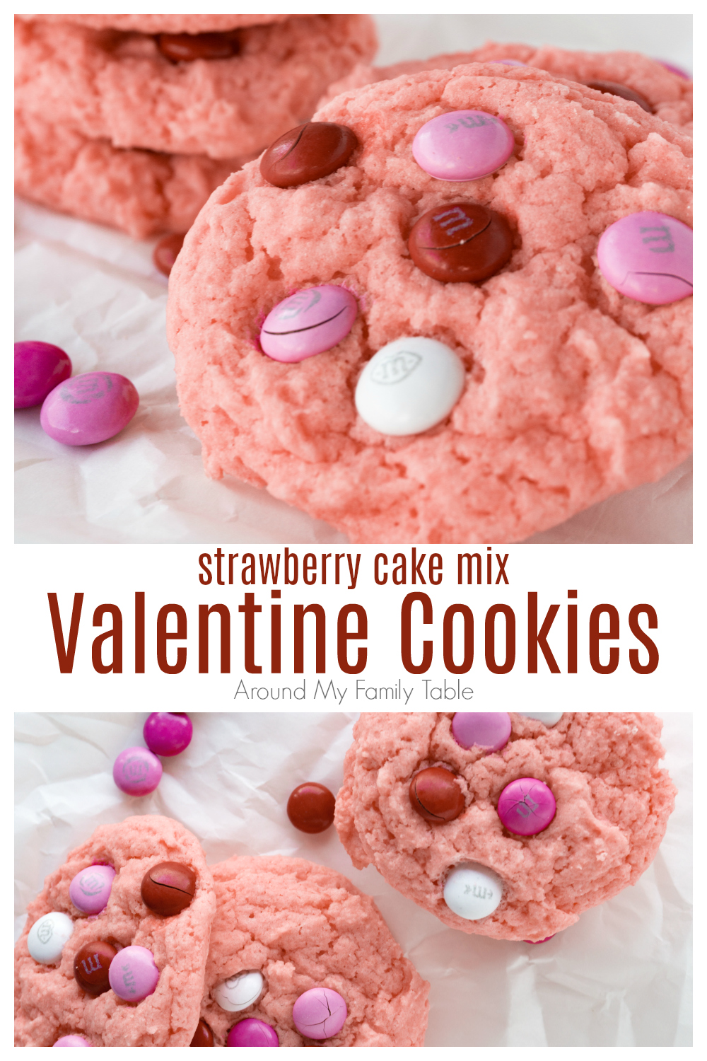 Strawberry Cake Mix Valentine Cookies collage