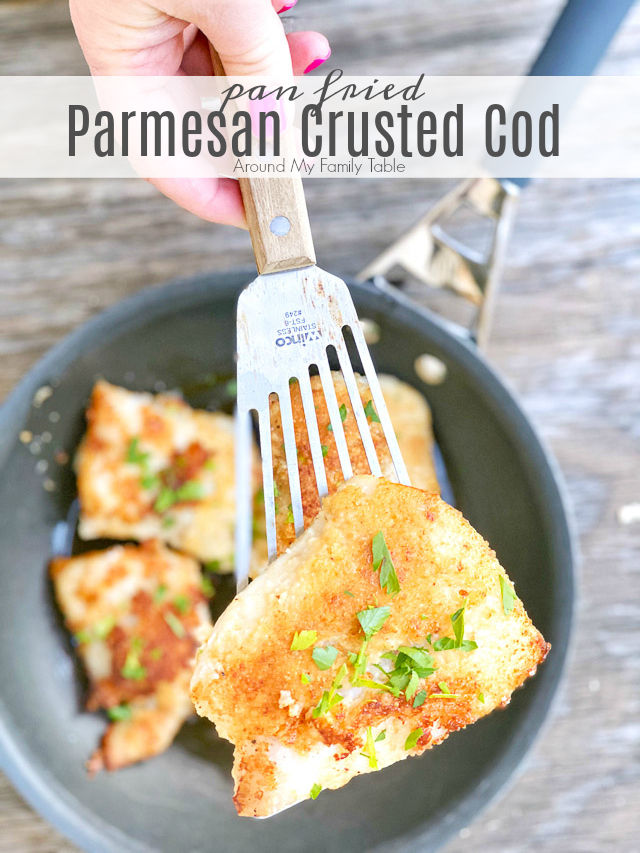 parmesan crusted cod in a frying pan