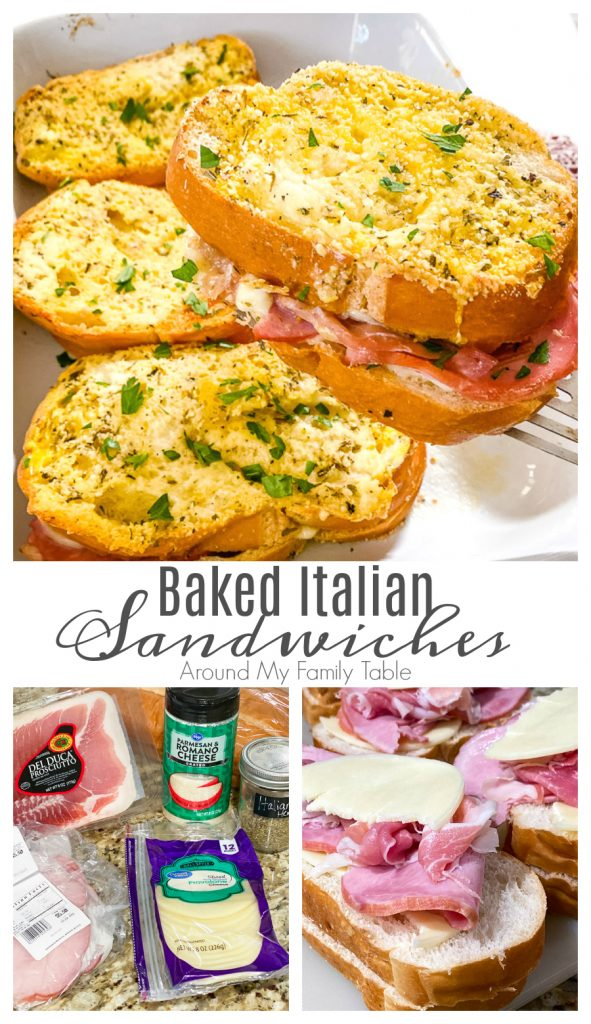 collage of baked italian sandwiches in white dish and ingredients