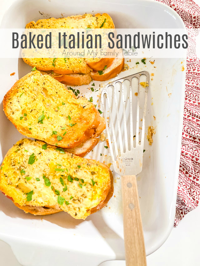 This Baked Italian Sandwich recipe is packed full of flavor and can adjusted to fit what you have on hand. Lots of cheese and meat baked onto hearty bread will make supper a breeze. #sandwiches #bakedsandwiches