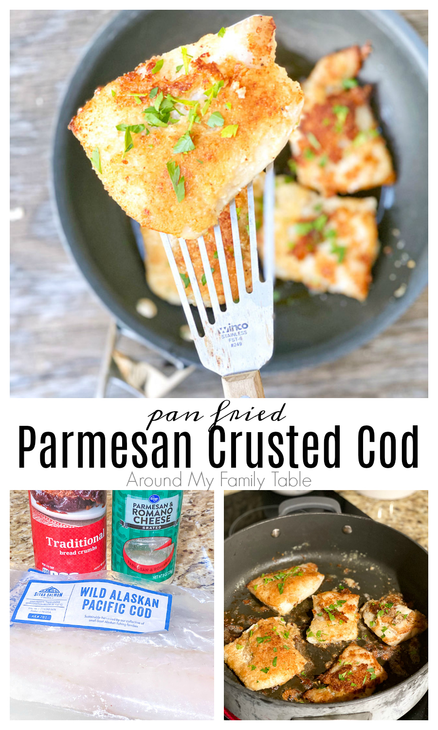 Parmesan Crusted Cod is a new family favorite. It's so simple and delicious and takes less than 30 minutes from freezer to table, including side dishes. via @slingmama