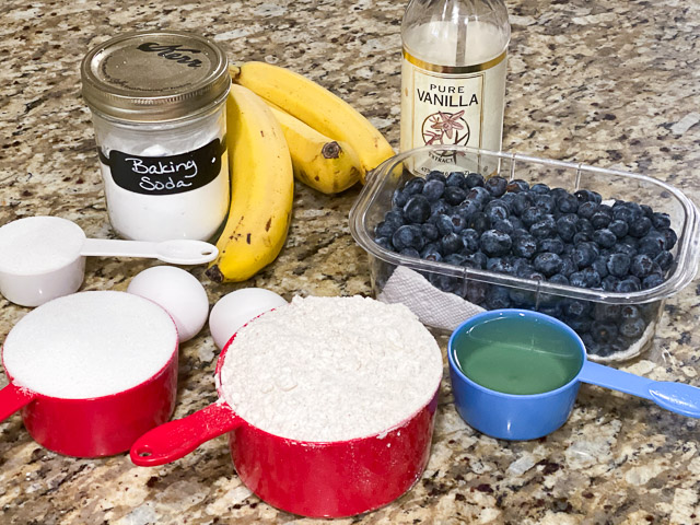 blueberry banana bread ingredients