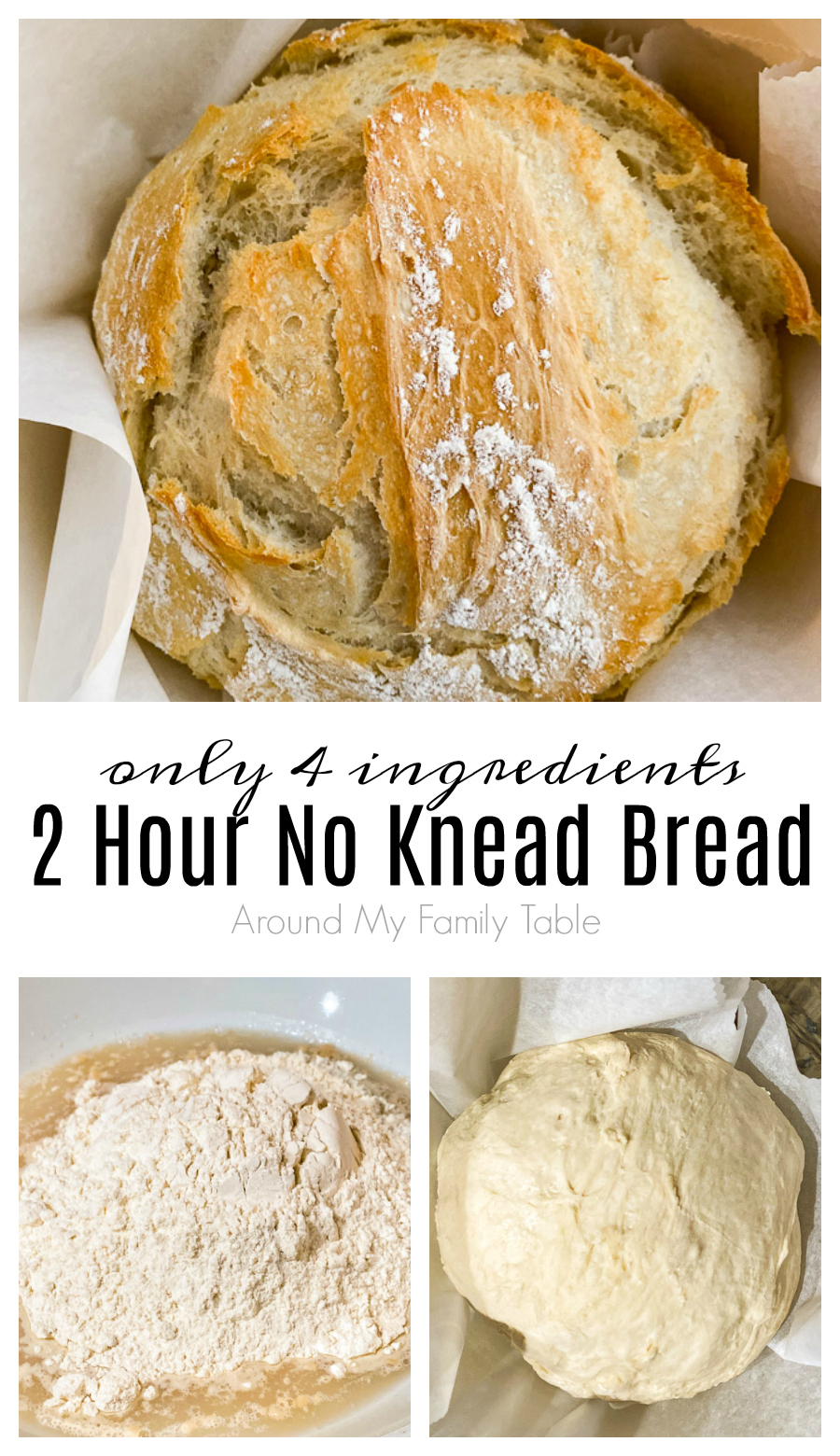 Making bread at home has never been easier than with my recipe for the Easiest 2 Hour No Knead Bread. Only 4 ingredients and 2 hours to hot, delicious bread on your table. via @slingmama