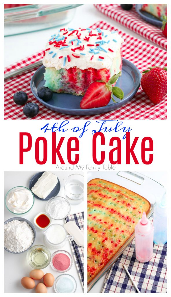 4th of July Poke Cake collage of ingredients, cake with jello, and final cake
