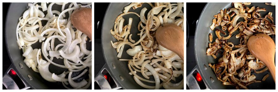 how to caramelize onions...shows onions of different stages in the cooking process