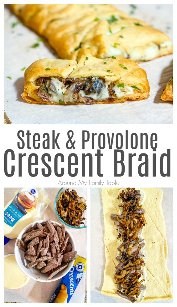 collage of cooked Steak & Provolone Crescent Braid on parchment paper on a pizza peel, plus ingredient image and process image of meat, cheese, and onions on dough