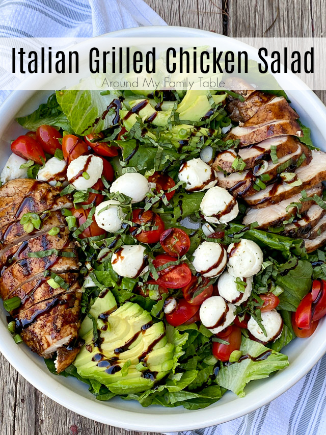 Italian Grilled Chicken Salad on a wood table
