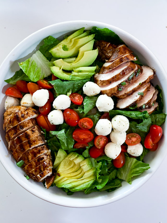 Italian Grilled Chicken Salad ingredients in a bowl