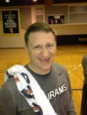 Assistant Coach Mike Rhoades, post Jarred Guest-elbow.