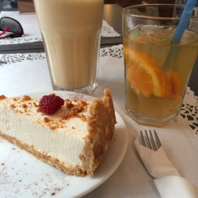 Cheese cake, iced tea lemonade and frappe latte