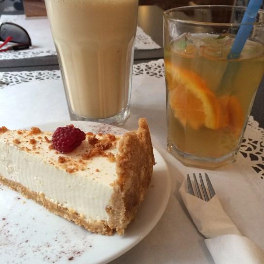 Cheese cake, iced tea lemonade and frappe latte