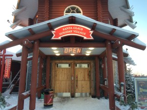 Grand entrance to the reception at Santa Claus Holiday Village in Rovaniemi, Finland