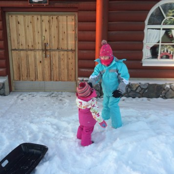 Enjoying the snow at Santa Claus Holiday Village in Rovaniemi, Finland