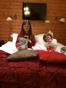 Lily-Belle, Matilda and Jingles the Elf getting ready to go to bed after a busy day at the Santa Claus Holiday Village in Rovaniemi, Finland