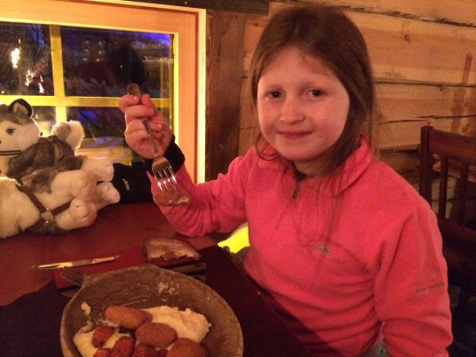 Lily-Belle enjoying her food at the Kotahovi Restaurant in Rovaniemi, Finnish Lapland