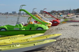 Pedalos for hire on Spiaggia e Mare Holiday Park private beach