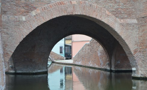 Bridge and water way in Comacchio, Italy