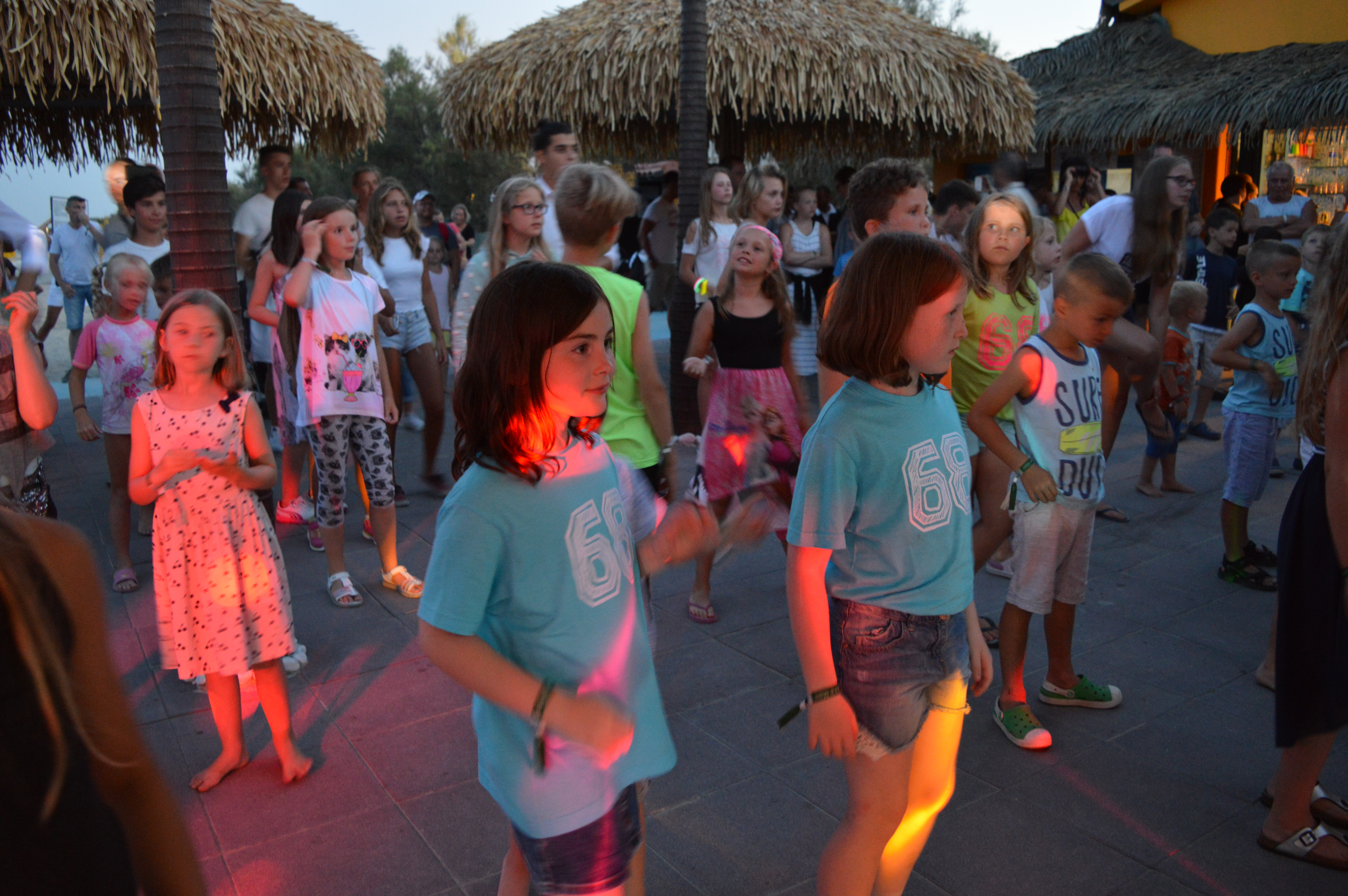 Riley and Lily-Belle enjoying Mini Disco at the Beach Bar in Spiaggia e Mare Holiday Park, Italy