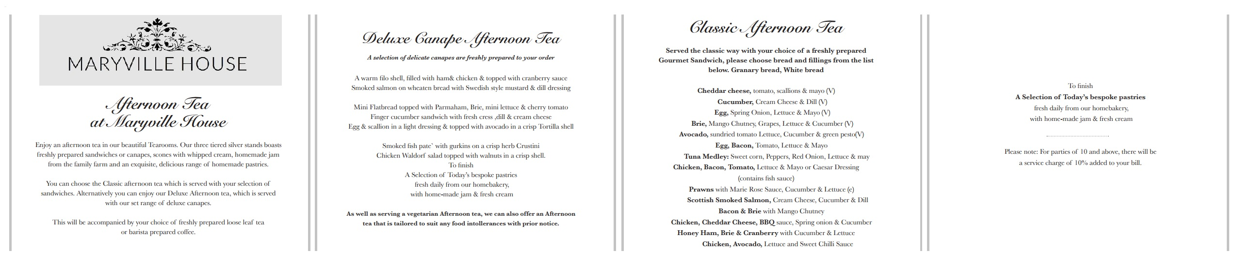 Afternoon Tea menu at the Maryville House Tearooms in Belfast
