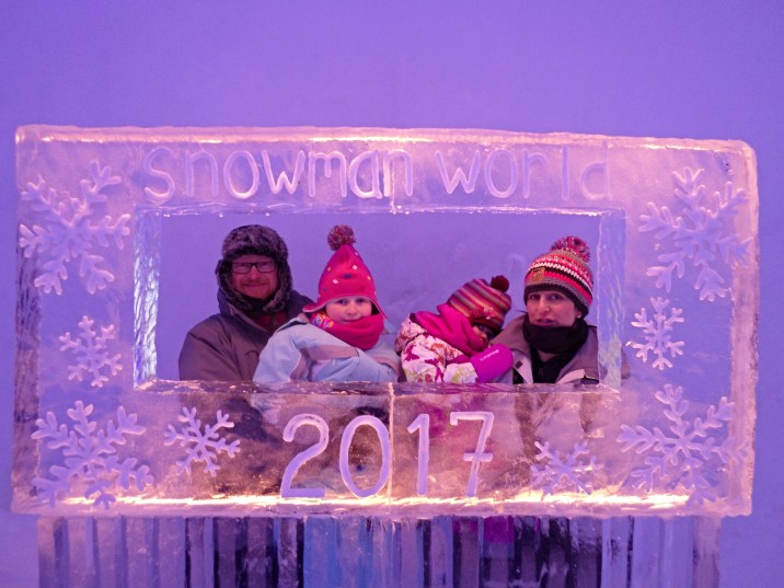 Ice picture frame at the Laplandia Ice Bar in Rovaniemi, Finland