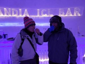 Drinking 'something local' at the Laplandia Ice Bar in Rovaniemi, Lapland