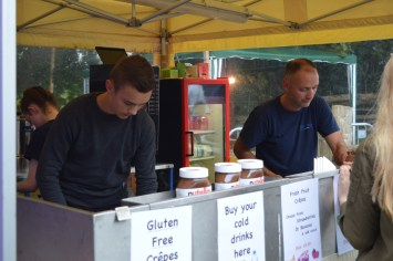 Michael and Manu feeding the masses at the 26th Anual Bluegrass Music Festival in Omagh