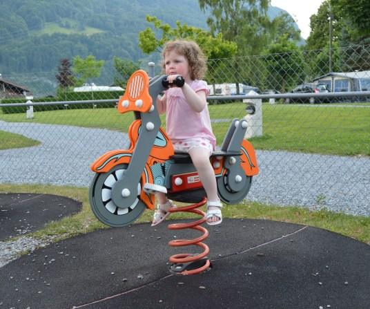 Children's play area at Camping Aaregg, Switzerland