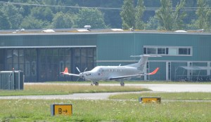Pilatus PC-12 with registration HB-FOG at the Swiss Army base in Switzerland