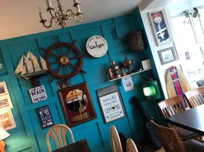 Bric-a-brac and shabby chic wall decor at the Gaslight Inn