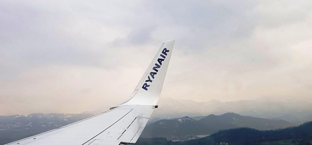 Ryainair flight over the Italian Dolomites