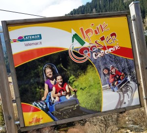 Alpine Coaster Gardonè sign at Ski Center Latemar