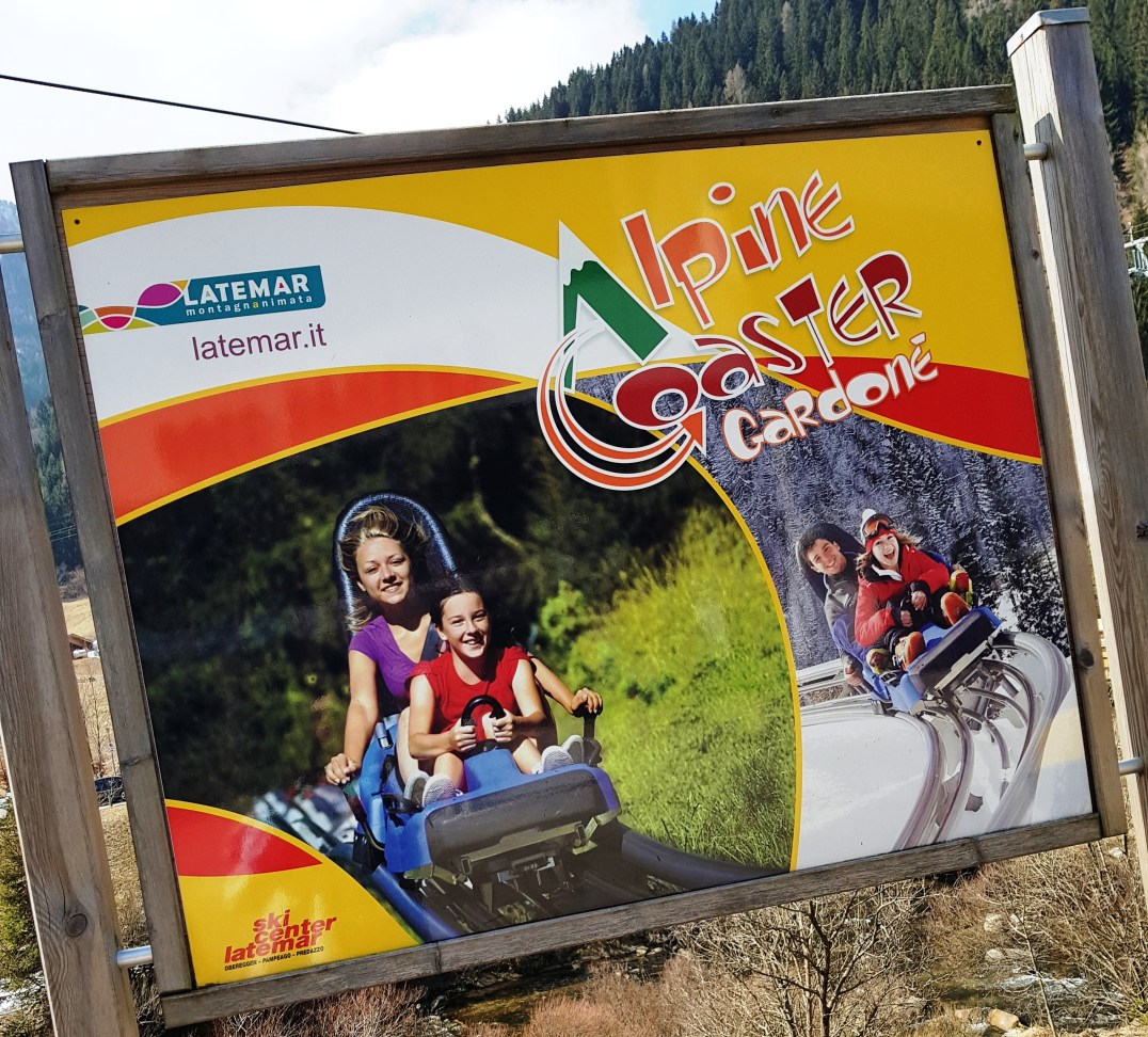 Alpine Coaster Gardonè sign at Ski Center Latemar