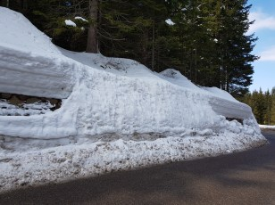Deep snow on the Lavazè Pass in the Italian Dolomites