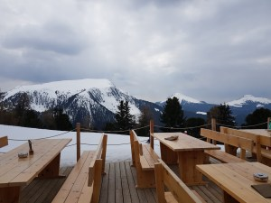 A view of the Italian Dolomites from the Oberholz terrace