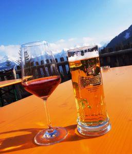 Having a drink at Ski Center Latemar
