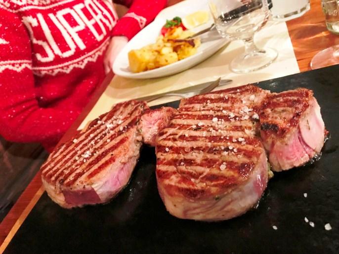 Steak on a stone served at Tito il Maso dello Speck