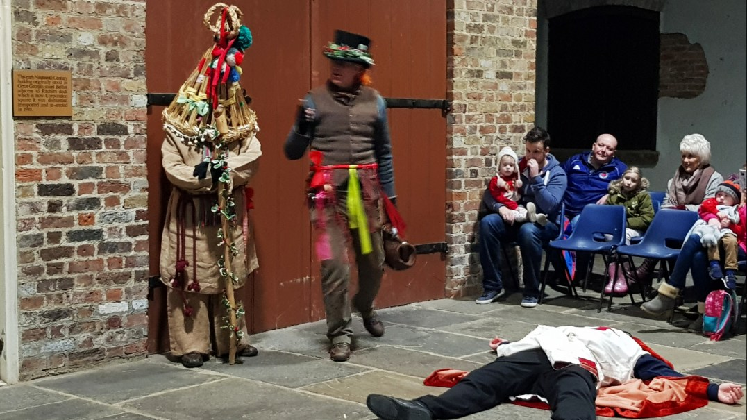 Murderous Mummers at the Days of Christmas Past tour at Ulster American Folk Park